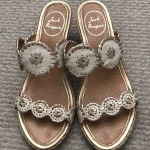 Jack Rogers Shelby wedge heel sandals, sz 8